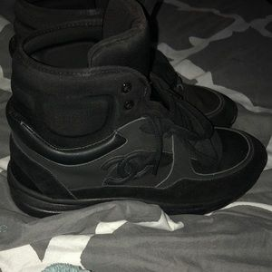 Chanel sneakers all black high top